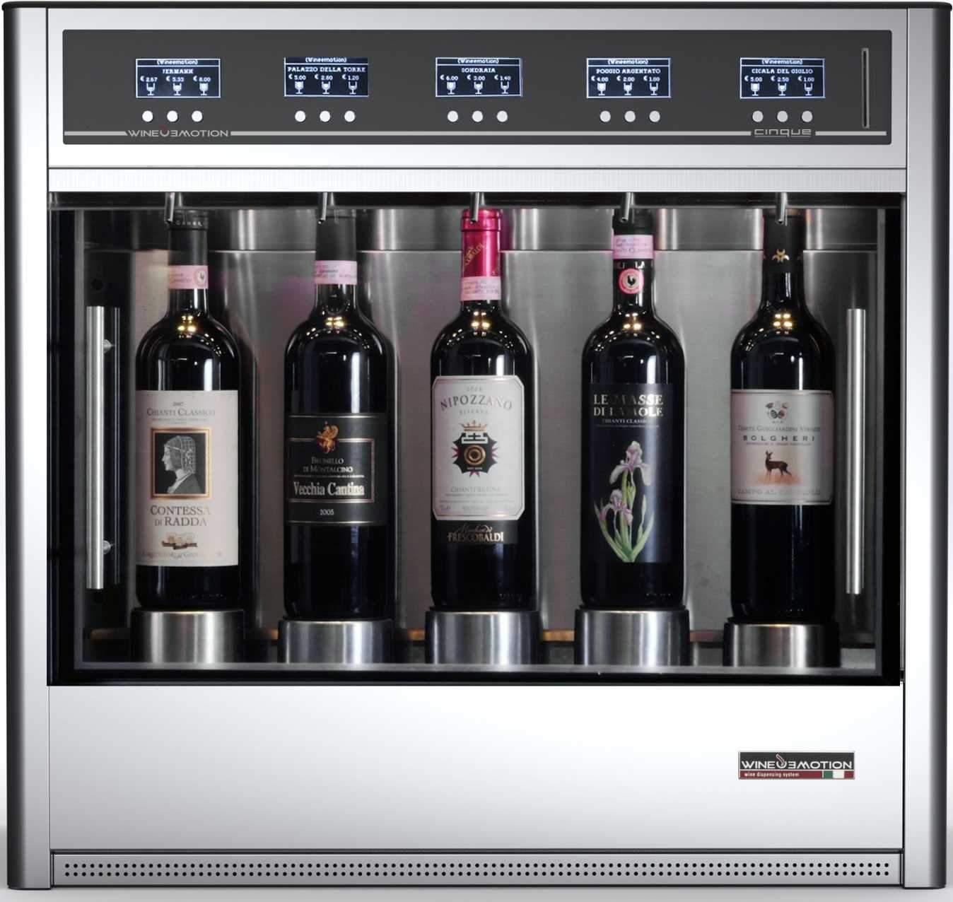Dispensadores de vino 5 botellas por copa